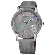 Akribos XXIV  Women's Flower Diamond Accent Watch with Gray Strap - silver