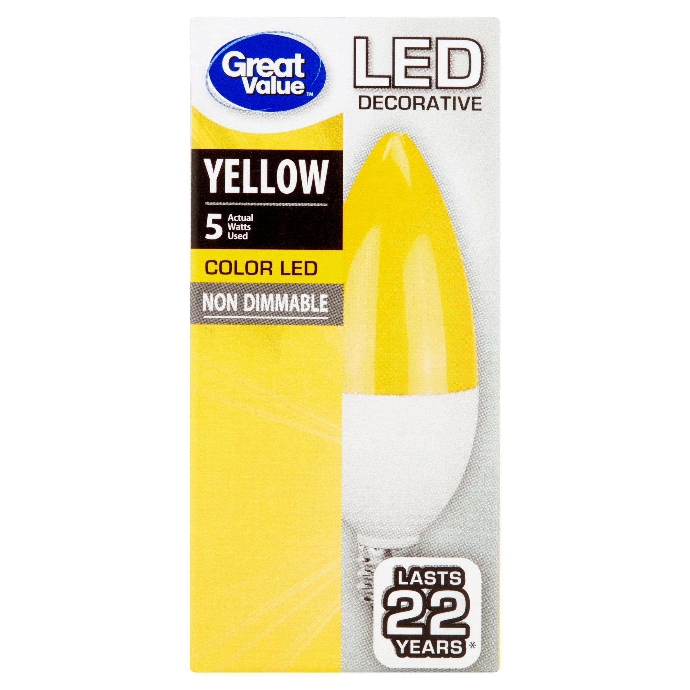 Great Value Color LED Decorative (E12) Light Bulb, 5 Watt, Yellow