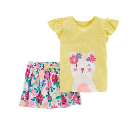 Carters Infant & Toddler Girls Yellow Kitty Cat Baby Outfit Shirt & Skort Skirt