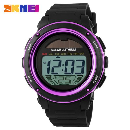SKMEI Brand Solar Powered Digital Men Women Sports Military Watch 3ATM Water-resistant Unisex Wristwatch with Chronograph Backlight Chronograph Round Wrist Watch