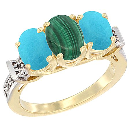 14K Yellow Gold Natural Malachite & Turquoise Sides Ring 3-Stone Oval Diamond Accent, sizes 5 - (Turquoise Malachite)