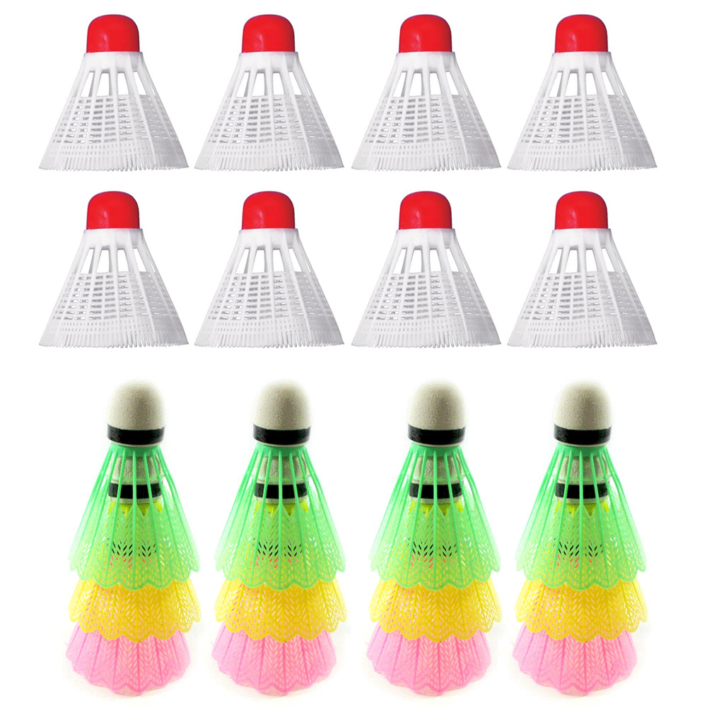 12Pcs Yellow Nylon Shuttlecocks Birdies Badminton Ball Outdoor Training Durable~