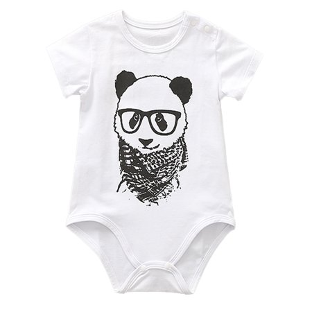 stylesilove Stylish Animals Pattern Baby Boys Short Sleeve Cotton Bodysuit Romper (80/12-18 Months, White Panda) (Panda Onsie)