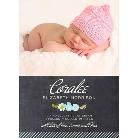 Botanical Wreath Standard Baby Announcement