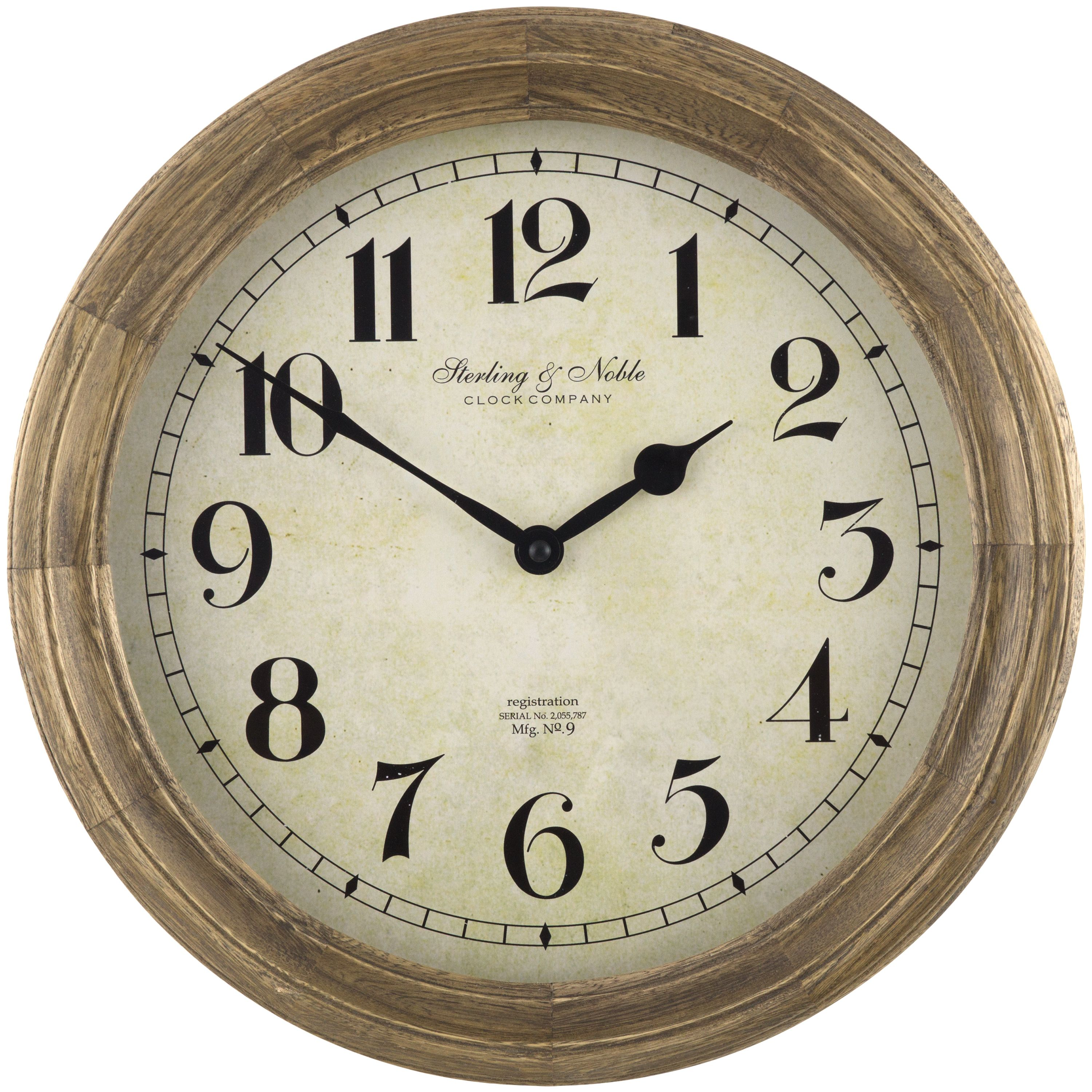 "Better Homes & Gardens 15.5"" Solid Wood Clock Weathered"