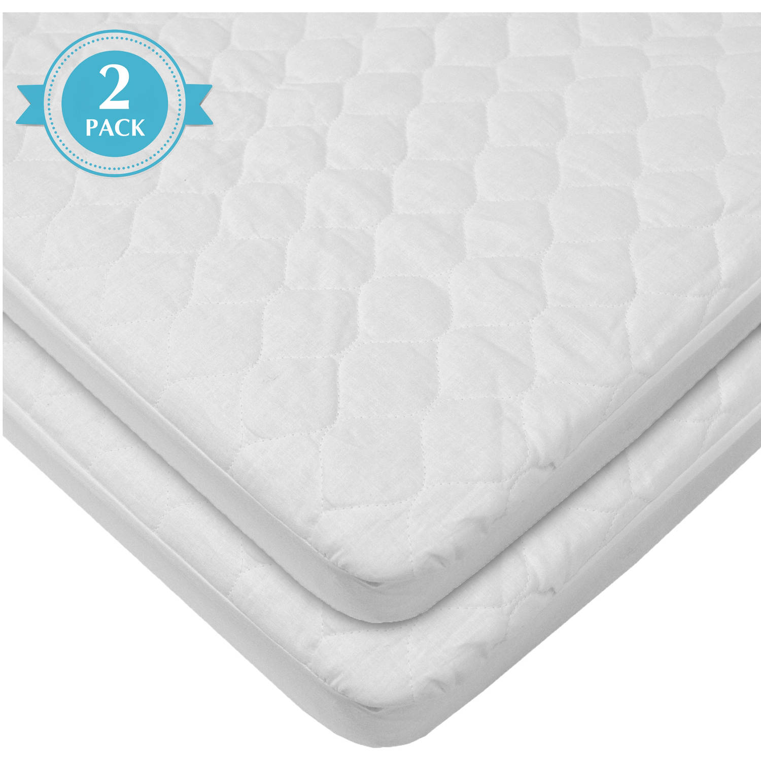 American Baby Company Waterproof fitted Quilted Portable/Mini-Crib Mattress Pad Cover, White, 2 Count