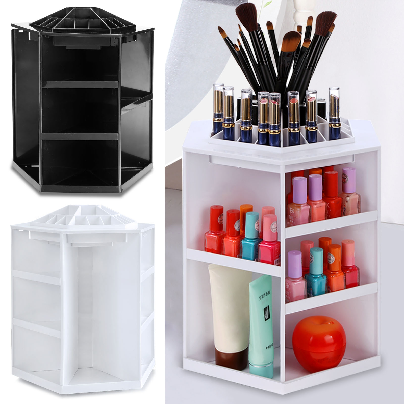 360 Degree Rotating Make Up Desktop Storage Box Display Organizer Case  HITC