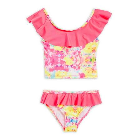 3c73af5c43c27 Betsey Johnson - Little Girl's Two-Piece Printed Ruffled Bikini ...