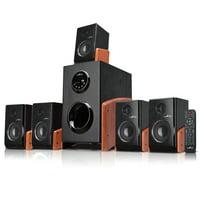 beFree Sound 5.1 Channel Surround Sound Bluetooth Home Audio Speaker System in Wood