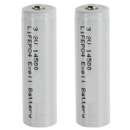 (2-PACK) 3.2V 500mAh (14 x 50mm) 14500 SIZE AA LiFePO4 Rechargeable