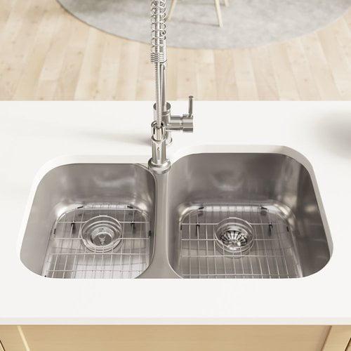 Ren Stainless Steel 32 L X 21 W Double Basin Undermount Kitchen Sink With Cutting Board Grid Basket And Standard Strainers Walmart Com Walmart Com