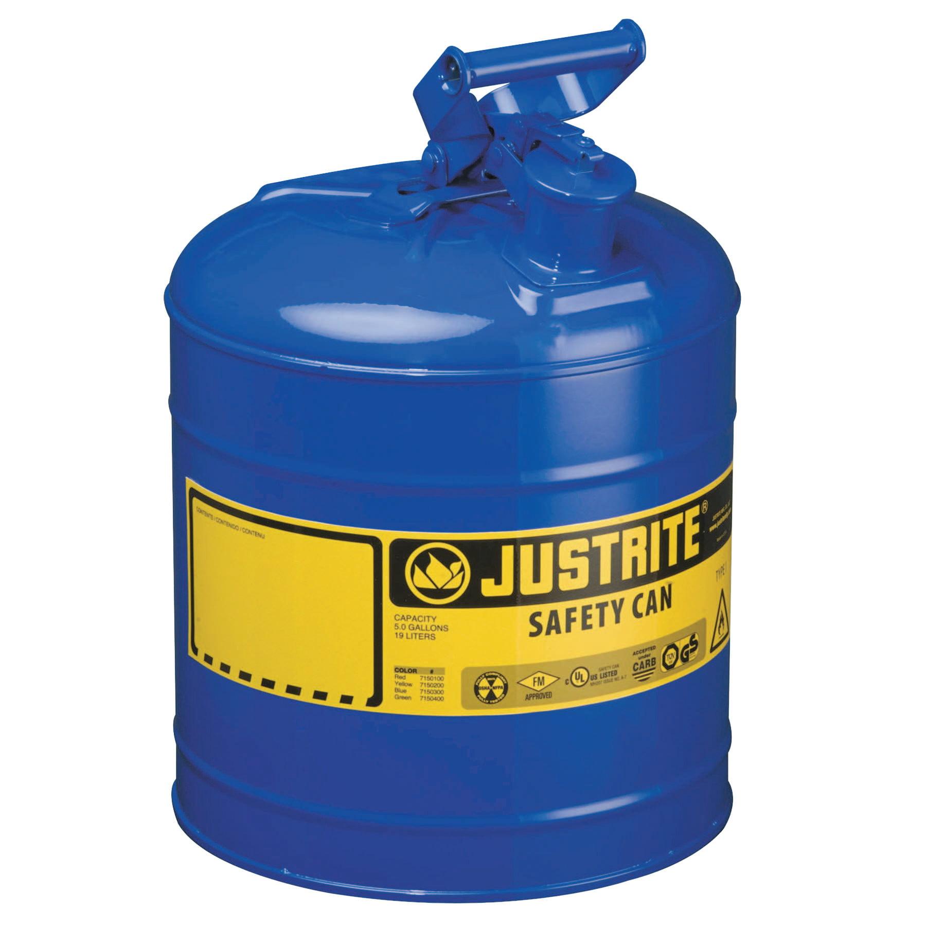 Justrite Type I Safety Cans, Kerosene, 5 gal, Blue