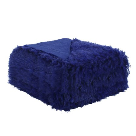 Luxury Soft Shaggy Faux Fur Blanket Ultra Fiber Blanket Throw Royal Blue 51