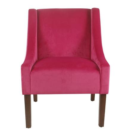 HomePop Modern Velvet Swoop Arm Accent Chair, Multiple Colors Tan Microfiber Accent Chair