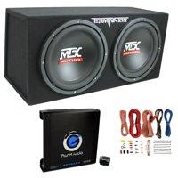 "MTX TNE212D 12"" 1200W Dual Loaded Car Subwoofers + Box + Planet 1500W Amp + Kit"