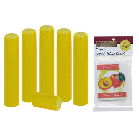 - Professional Peach Fruit Wine Labels With Yellow PVC (30 count)