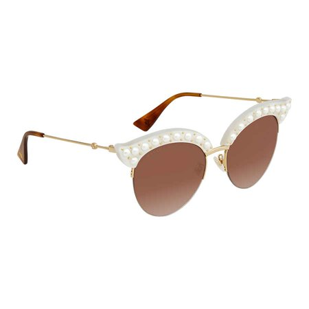 Gucci GG0212S 003 Winter White Winter White Cat Eye Sunglasses