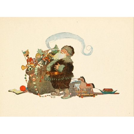 Twas the night before Christmas c1912 Santa with toys Stretched Canvas - Jessie Willcox Smith (24 x 36)