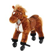 Qaba Kids Interactive Plush Mechanical Walking Ride On Horse Toy with Wheels