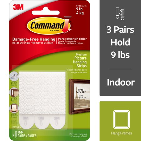 Picture Hanging Assortment - Command Picture Hanging Strips, White, Medium, 3 Sets of Strips/Pack