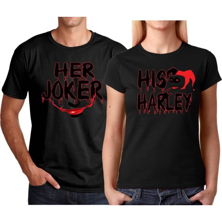 Her Joker His Harley FACE Halloween Couple Matching Funny Cute T-ShirtsHer Joker-Black S - Halloween Celebrity Couples