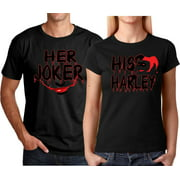 8c17c919 Her Joker His Harley FACE Halloween Couple Matching Funny Cute T-ShirtsHer  Joker-Black