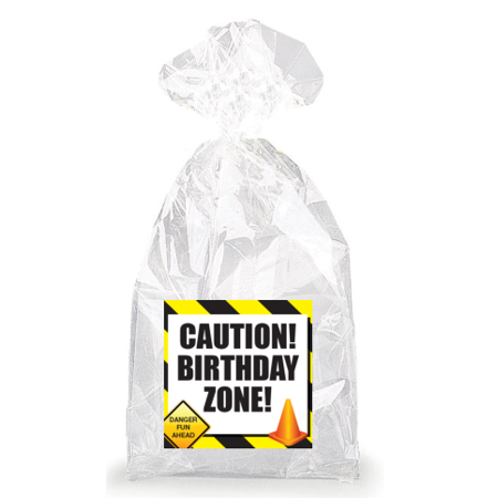 Colored Paper Bags (Construction Colored Caution! Birthday Zone!  Party Favor Bags with Ties -)