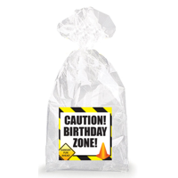 Construction Colored Caution! Birthday Zone!  Party Favor Bags with Ties - 12pack