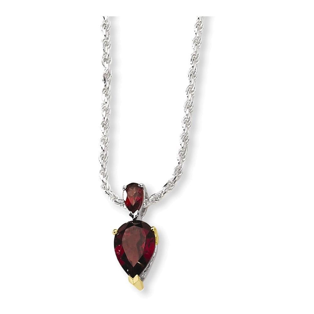 Sterling Silver & 14K Garnet Necklace by