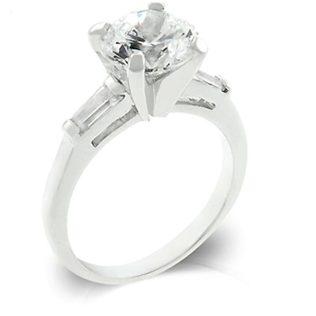 Kate Bissett R07785R-C01-08 Genuine Rhodium Plated Engagement Triplet Featuring Shouldered Emerald Cut and Centered