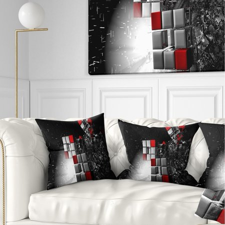 DESIGN ART Designart \'Fractal 3D Red White Cubes\' Contemporary Throw Pillow