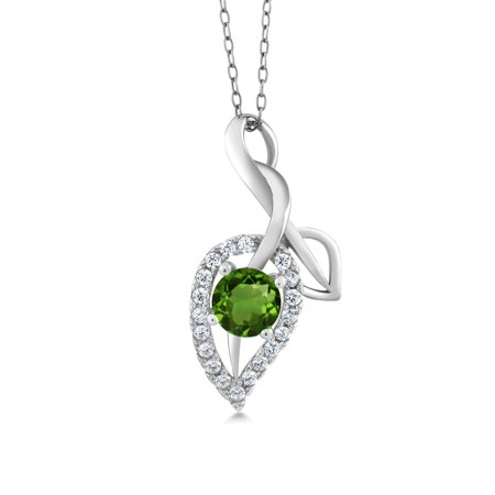 0.84 Ct Round Green Peridot 925 Sterling Silver Pendant with 18