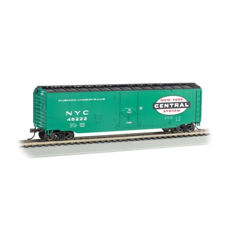 New York Central 50' Plug-Door Box Car-Ho Scale, Blackened machined-metal wheels with RP25 contours By Bachmann Trains Bachmann 50' Plug Door Box