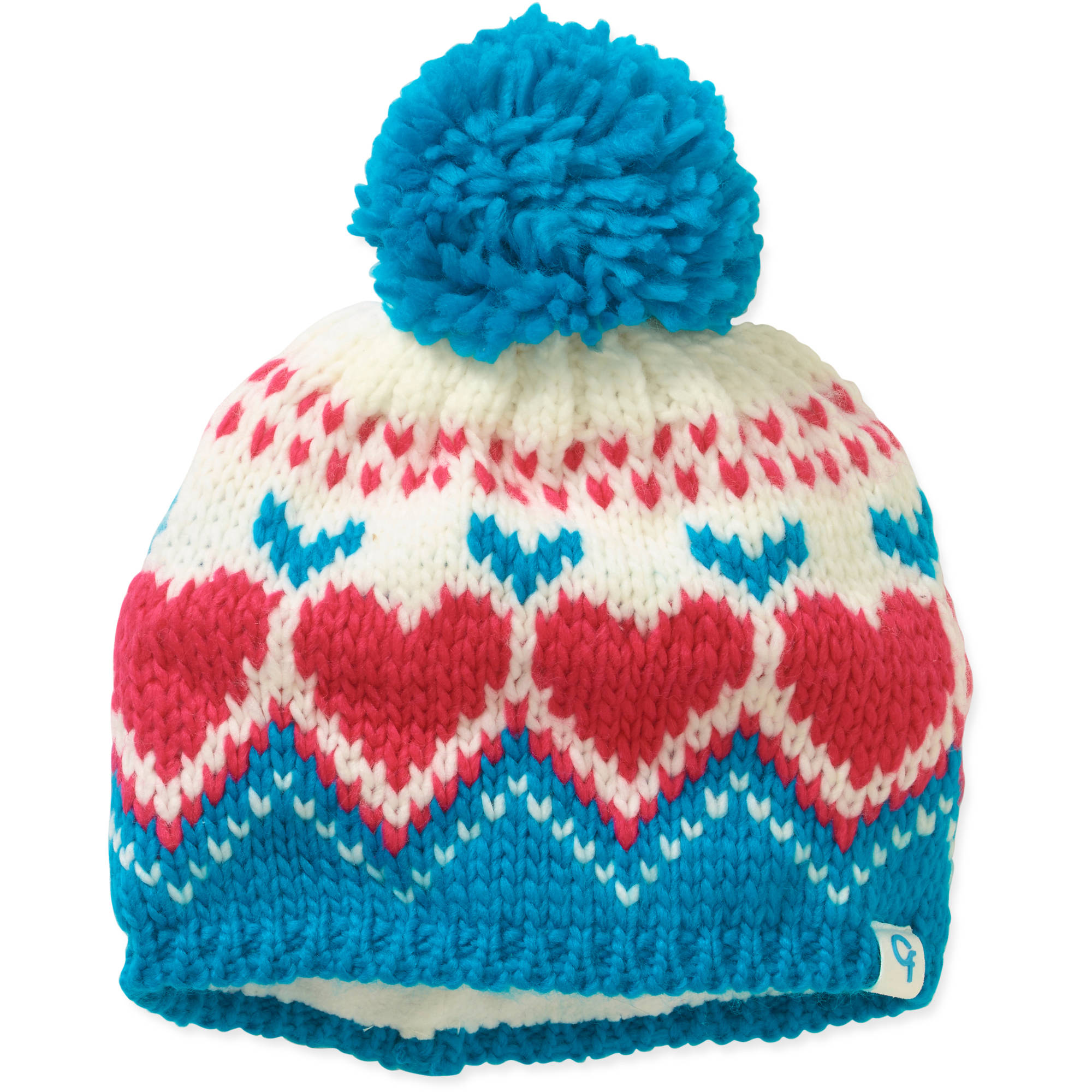 Cold Front Girl's Heart Beanie w/Pom