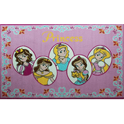 "Mybecca Kids Rug Five Princess in Pink Area Rug 3' x 5' Children Area Rug for Playroom & Nursery - Non Skid Gel Backing 39"" x 58""(3 Ft. 3 In. X 4 Ft. 10 In.)"