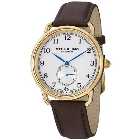 - Men's 207.03 Classic Cuvette Swiss Quartz 23K Gold Plated Brown Genuine Leather Strap Watch