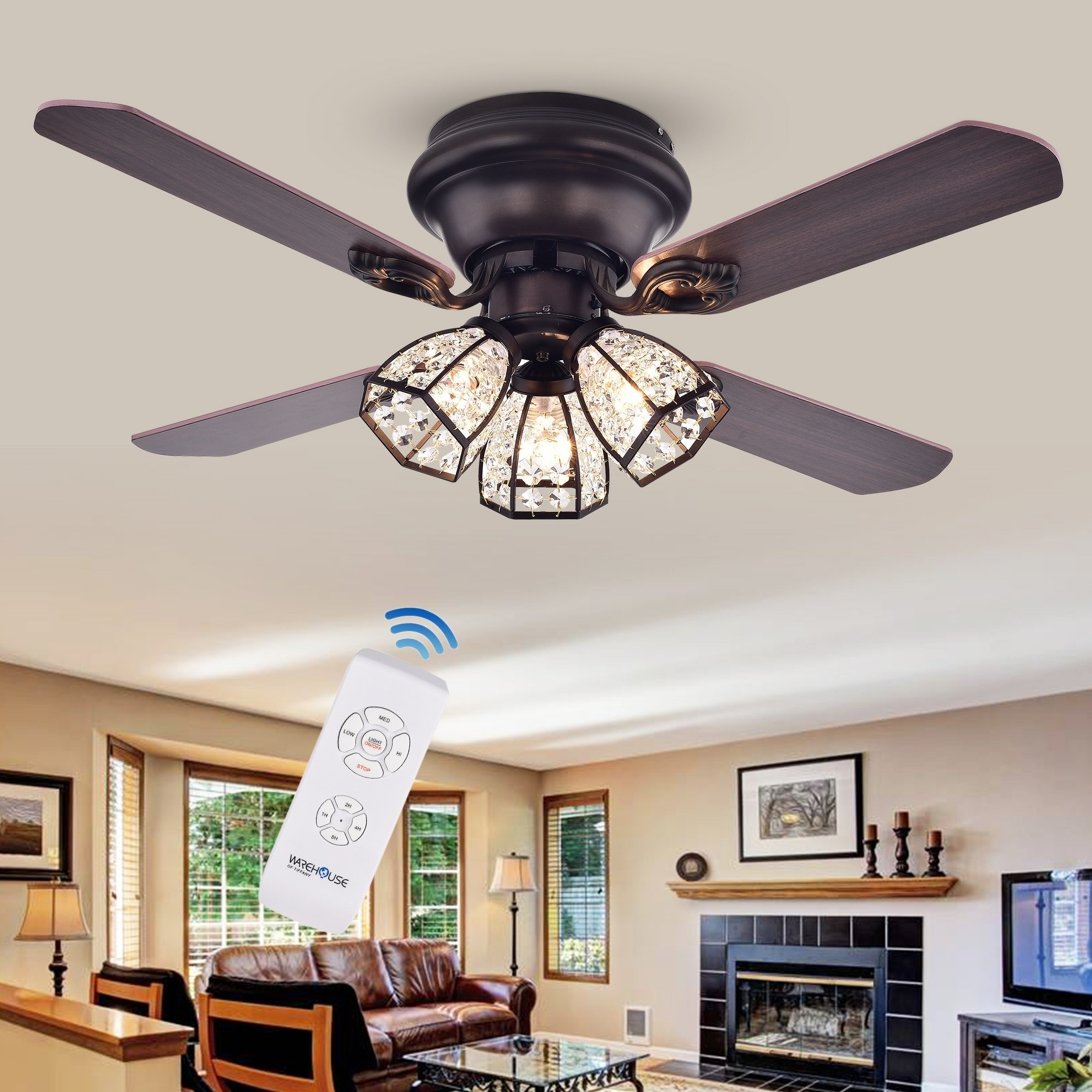 Tarudor 3-Light Crystal 4-blade Dark Wood with Antique Bronze Housing 42-inch Ceiling Fan with Remote