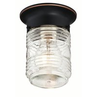 Design House 587238 Jelly Jar 1-Light Indoor/Outdoor Flush Mount Ceiling Light,