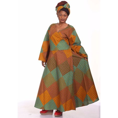 African Planet Bell Sleeves Wrap Around Dress with Headwrap Tie African Print