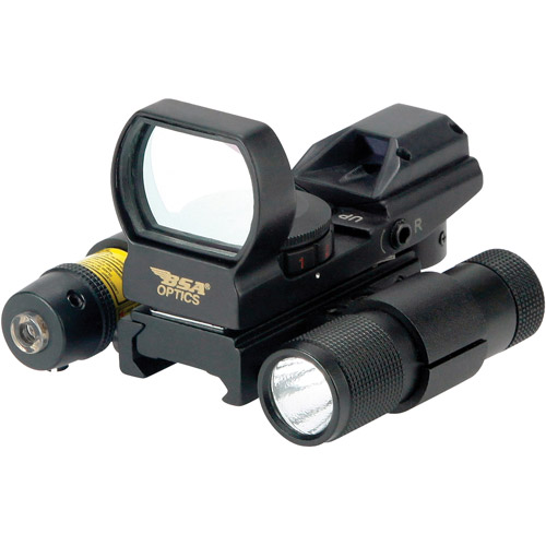 BSA Panoramic Red and Green Multiple Reticle Sight with Red Laser and Flashlight