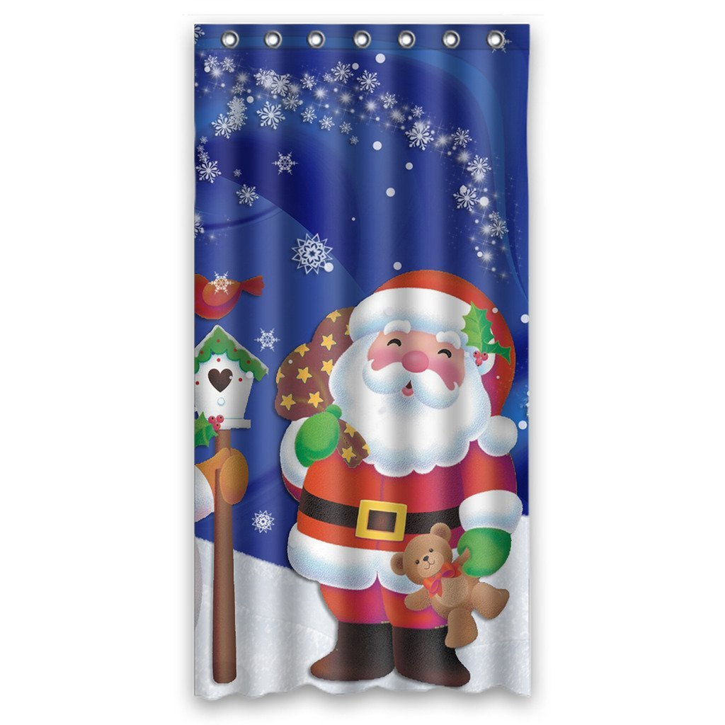 Gckg Merry Christmas Xmas Santa Claus Snowman Bathroom Shower Curtain Shower Rings Included Polyester Waterproof Shower Curtain 36x72 Inches