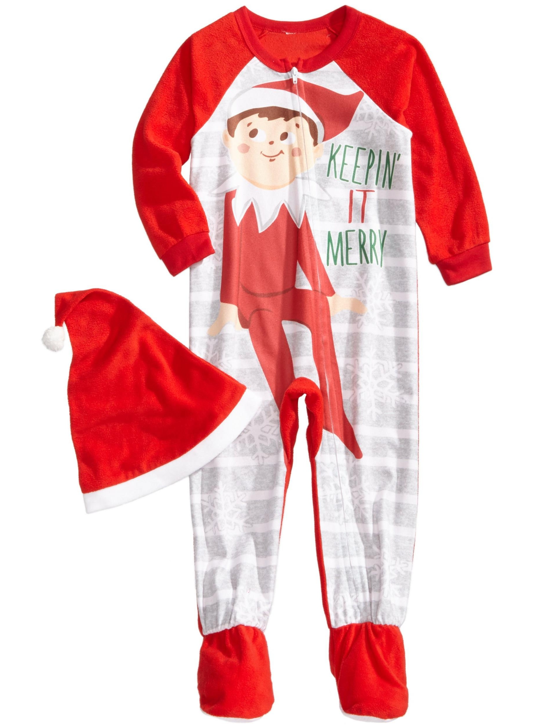 Elf on the Shelf  Boys' Family Sleep  Pajama with Hat, Footed, Size: 3T