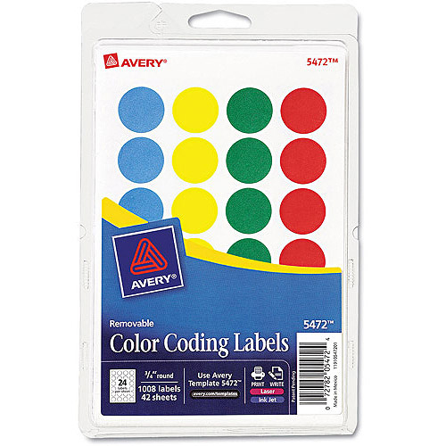 "Avery Print or Write Removable Color, 3/4"" Round, Pack of 1008, Available in Multiple Colors"