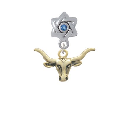 Gold Tone Longhorn - Star of David with Blue Crystal Charm Bead