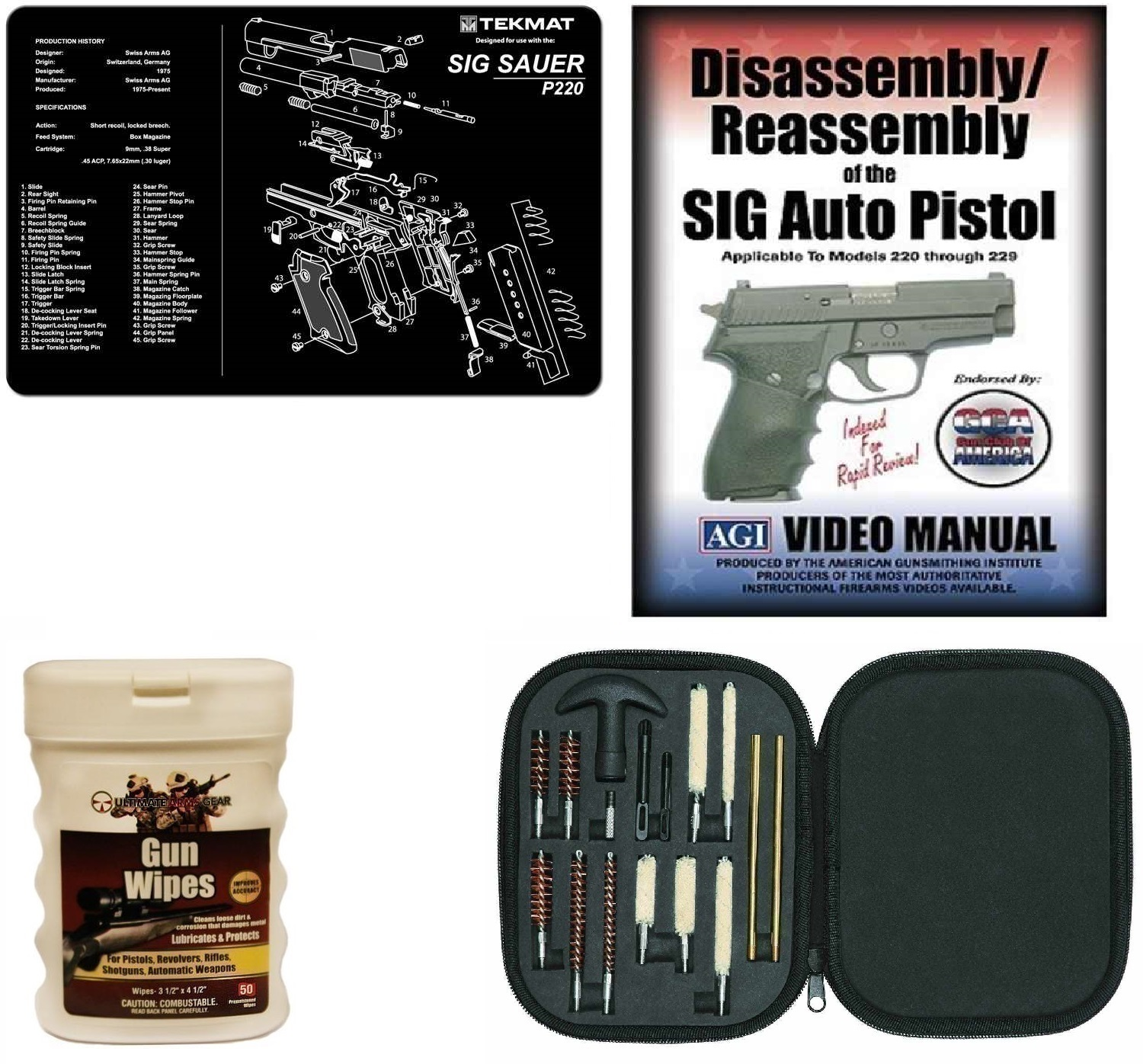 AGI DVD SIG Sauer P220 Disassembly and Reassembly + Ultimate Arms Gear Gunsmith & Armorer's Cleaning Bench Gun Mat +... by
