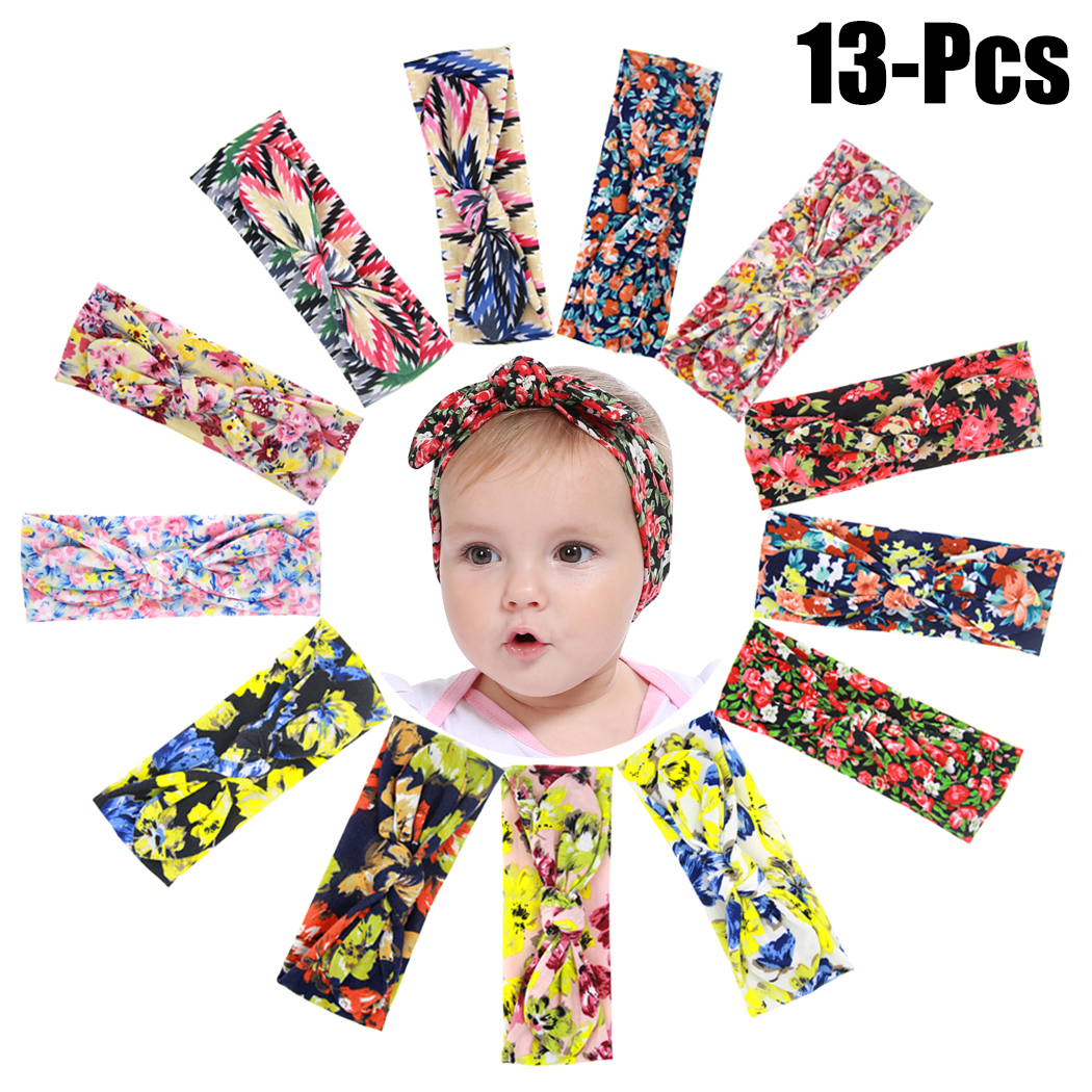 13PCS Baby Hairband,Justdolife Floral Colorful Cloth Knot Baby Headband Infant Headwrap Headwear Hair Accessories for Toddler Baby Girl Kids