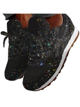 Women's Lace Up Sequins Sneakers Casual Breathable Flats Jogging Sports Shoes