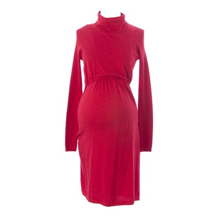 MOTHERS EN VOGUE Maternity Women's Turtleneck Nursing Dress X-Small Rococco Red Vogue Bridal Dresses