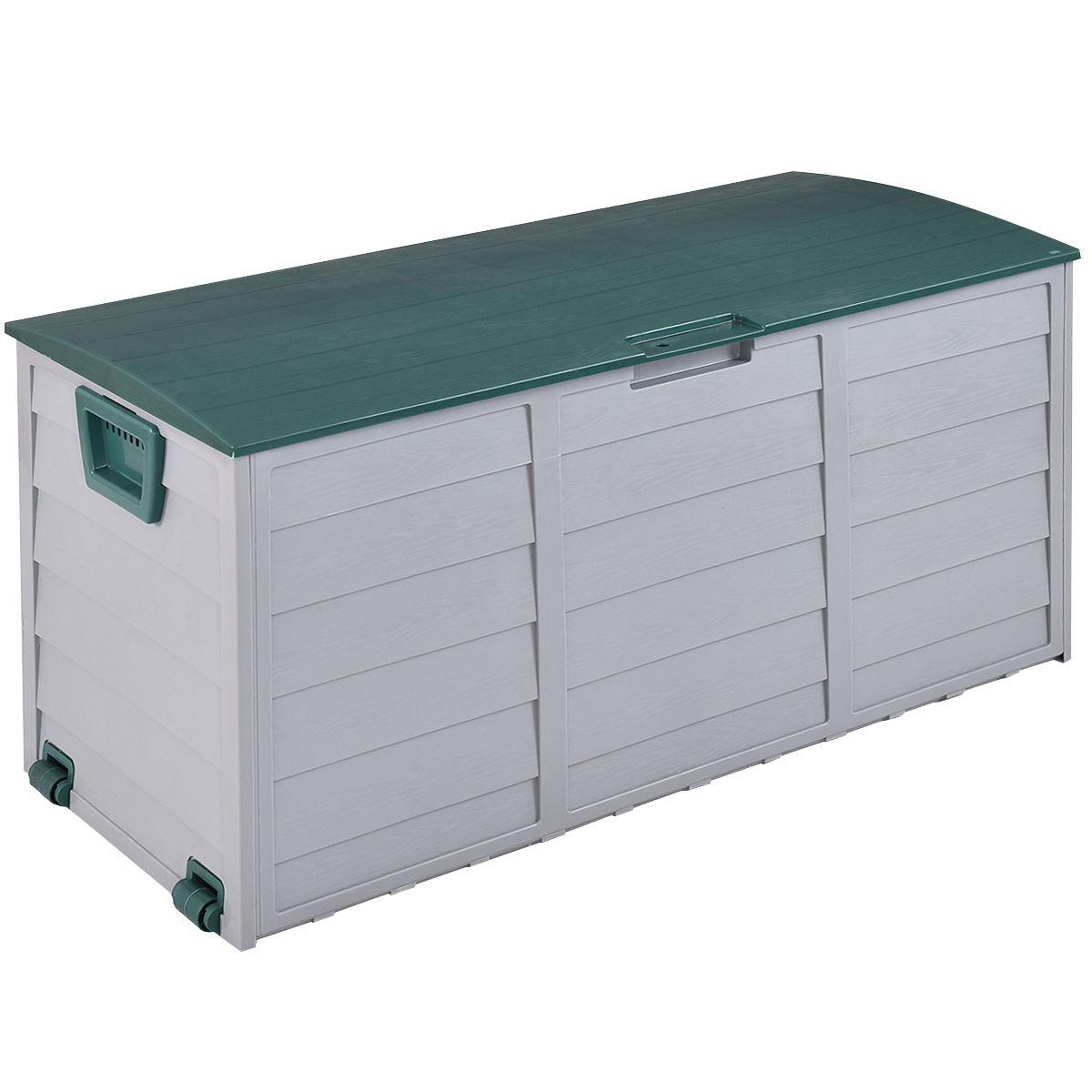 "GHP 44""x20""x22"" Gray & Green 7-Gallon Capacity Patio Garage Deck Storage Bench"