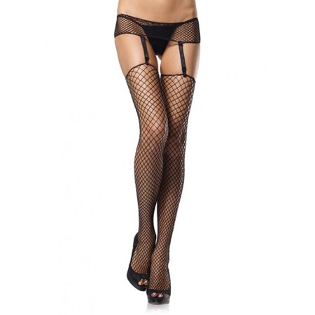 Leg Avenue 2 Piece Industrial Net Garterbelt and Stockings - Black - One Size